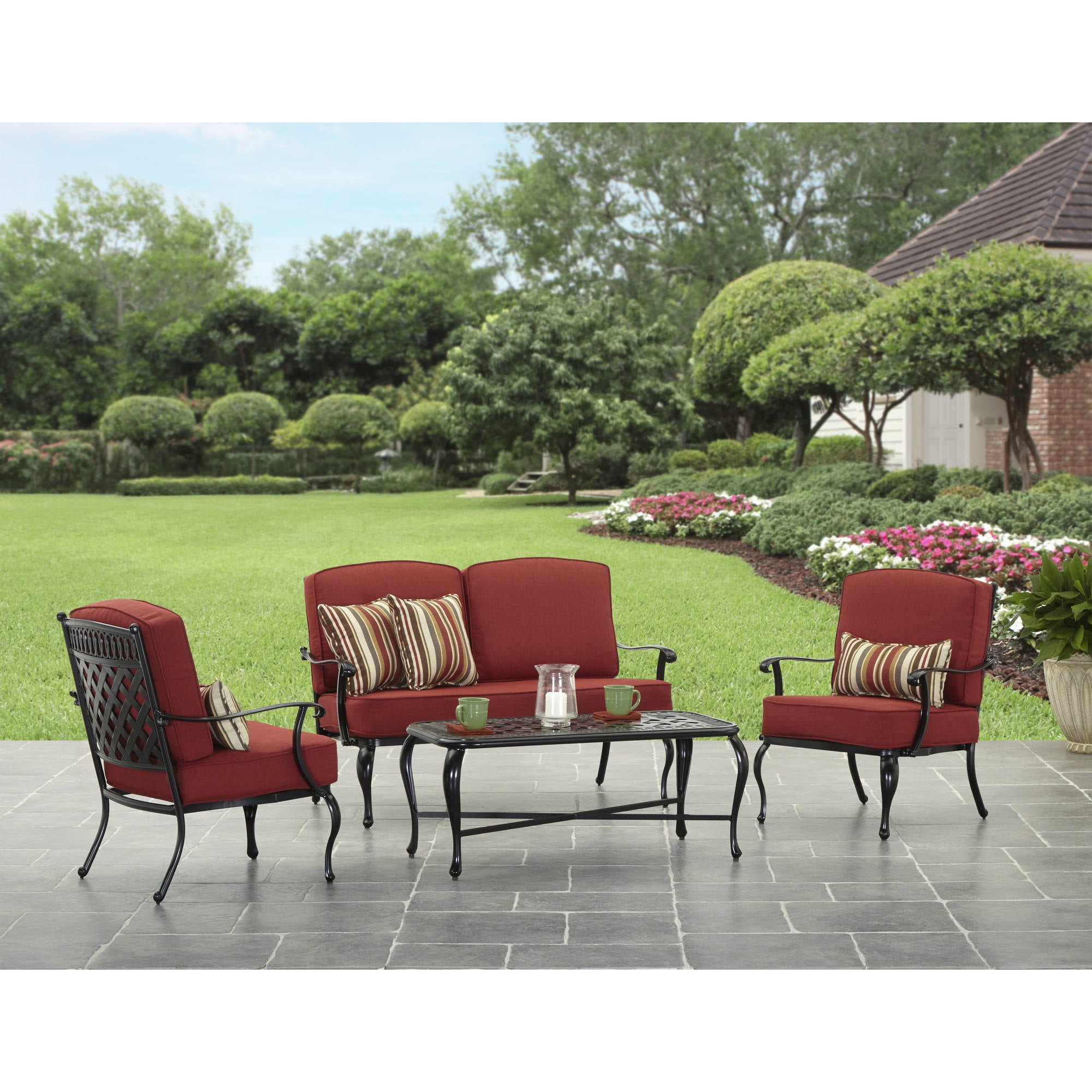 good looking better homes gardens. Better Homes and Garden Dawn Hill 4 Piece Outdoor Conversation Set  Walmart com