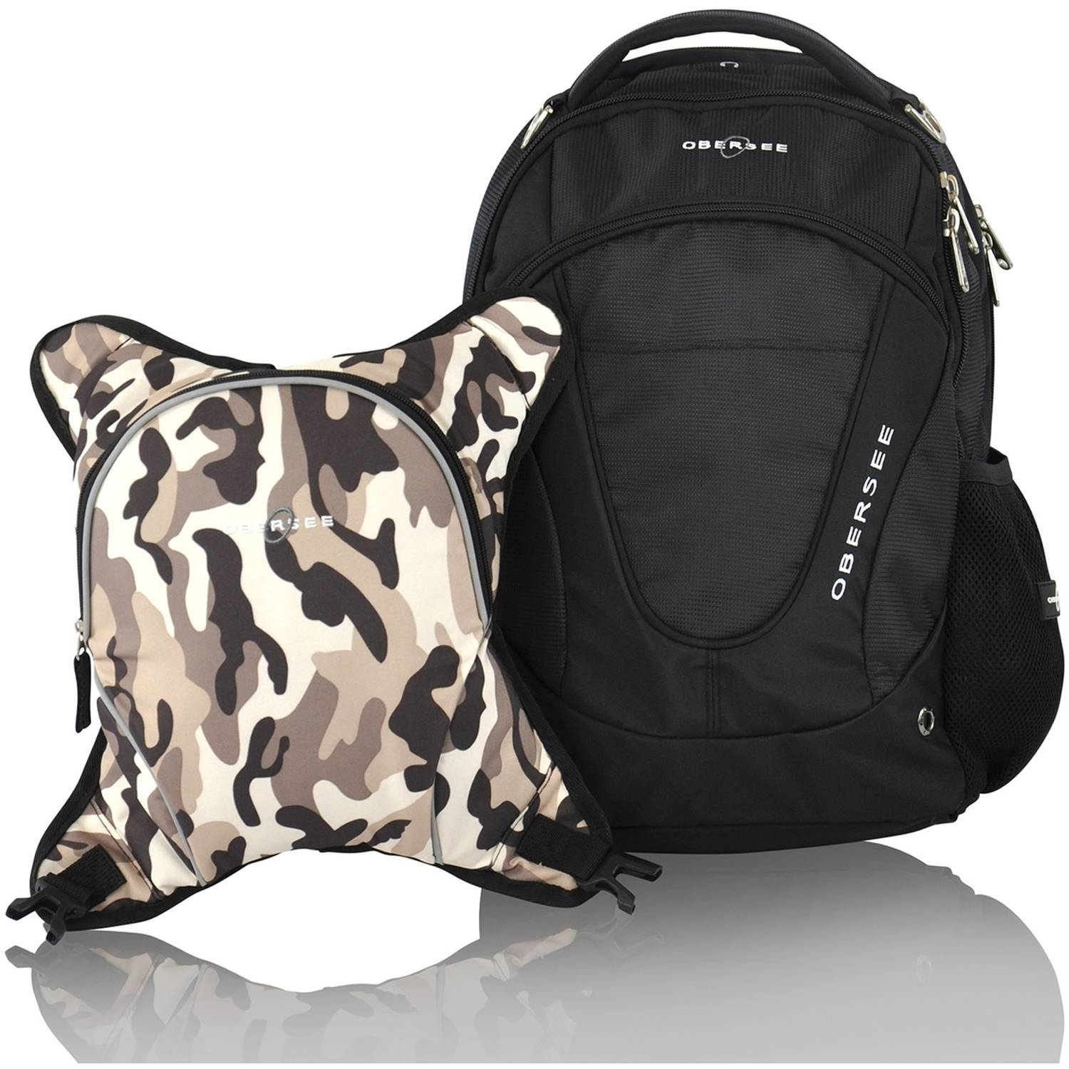 Obersee Oslo Diaper Bag Backpack and Cooler, Black Camo by Obersee