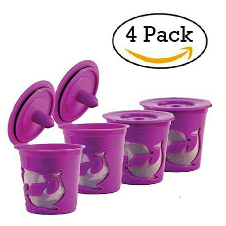 Keurig K-Cup Compatible Reusable Refillable Coffee Filter Pod, 4