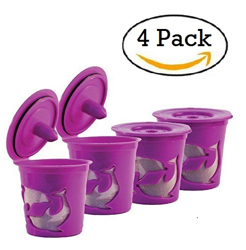 Keurig K-Cup Compatible Reusable Refillable Coffee Filter Pod, 4 Pack