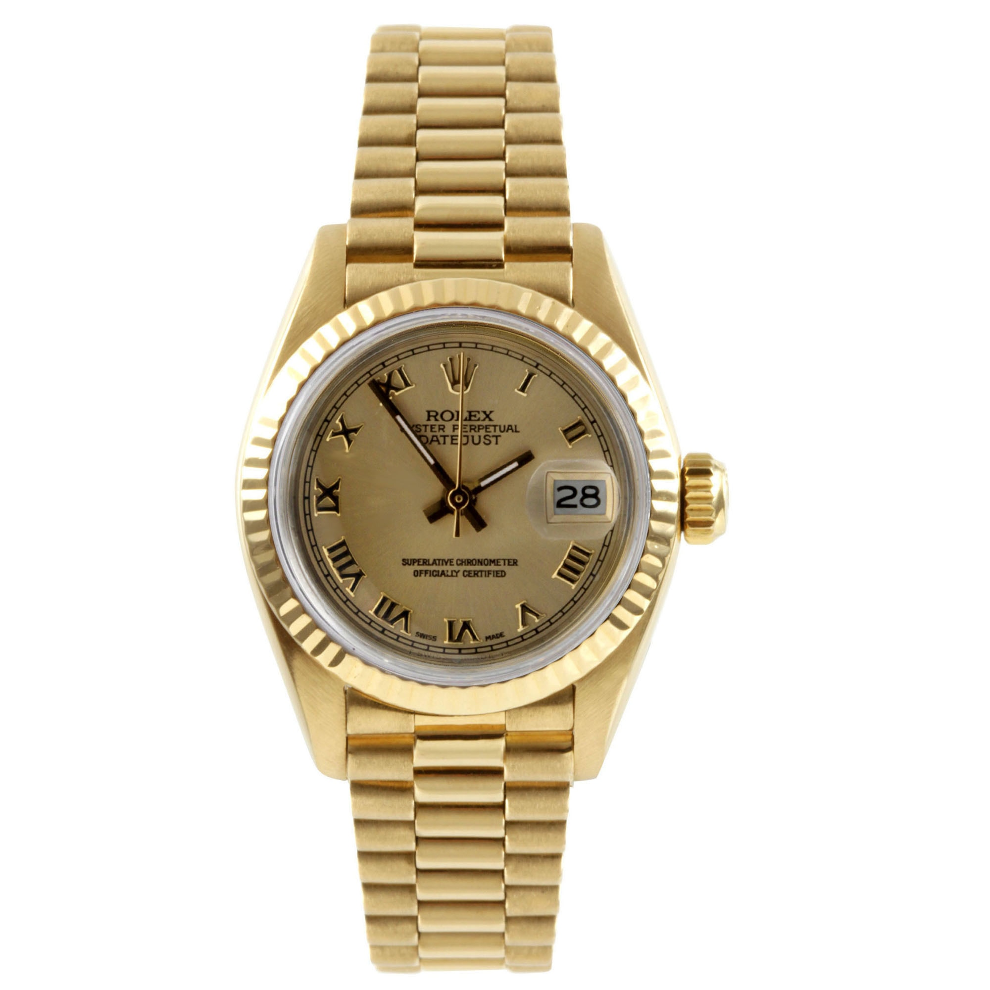 Rolex Pre-Owned  Women's President Yellow Gold Champagne ...