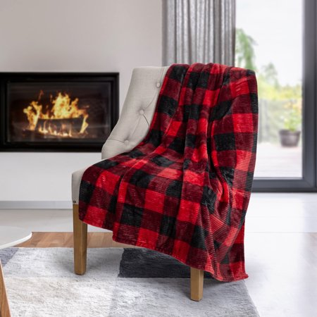 Safdie & Co. Flannel Printed Ribbed Throw Blanket, Buffalo Plaid