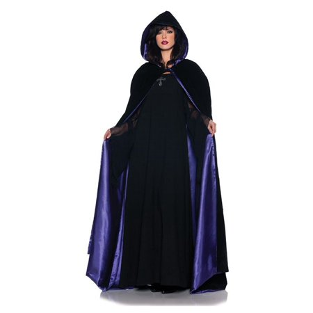 Adult Velvet and Purple Satin Deluxe Cape