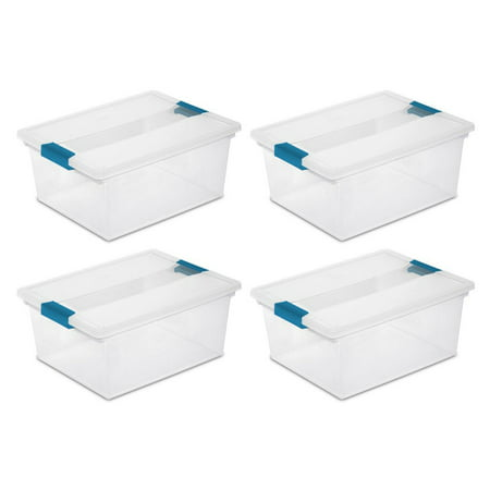 Sterilite Deep Clip Box Clear Plastic Storage Tote Container with Lid, 4 Pack (Clear Box)