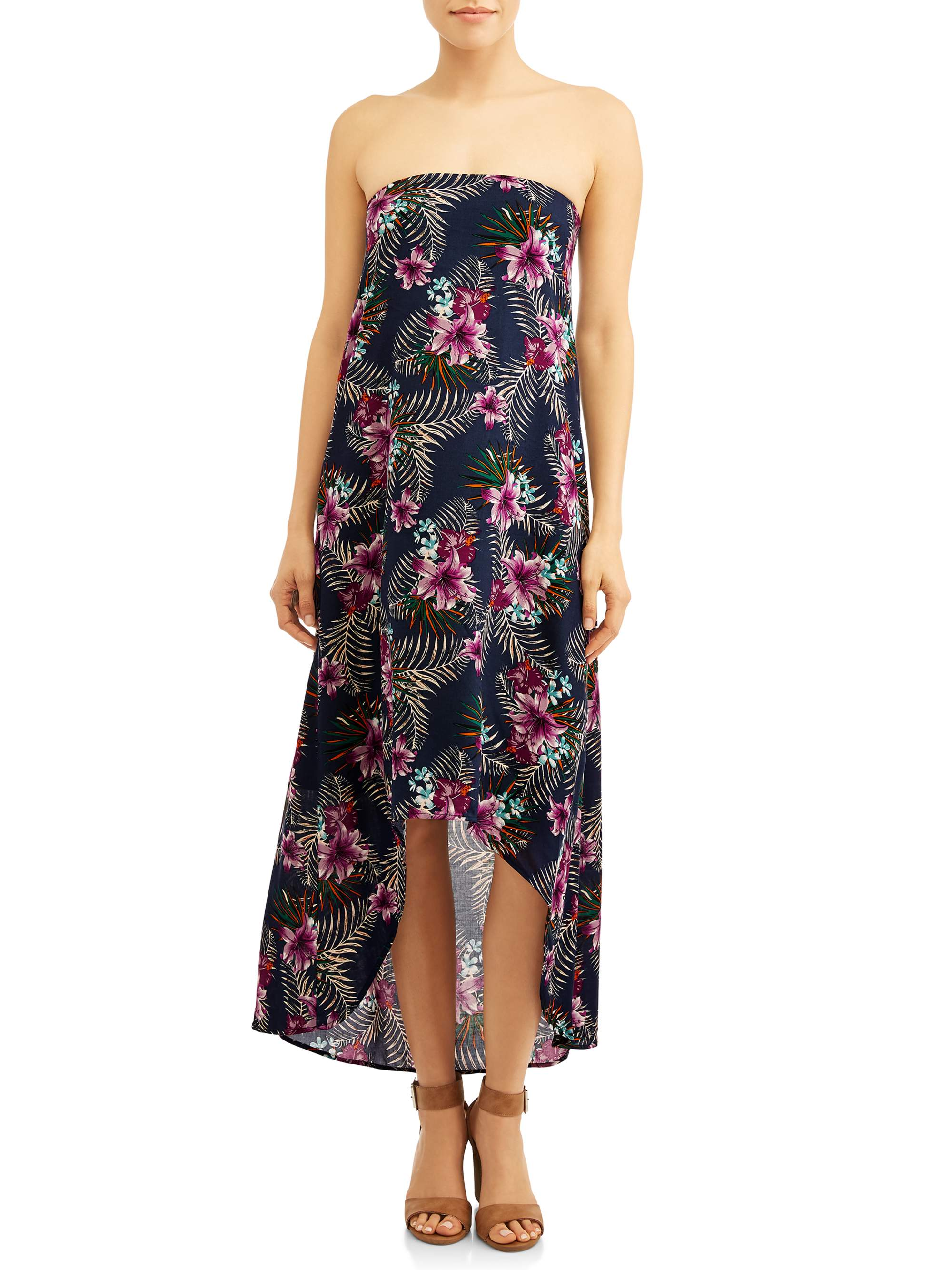 Women's Strapless Hi-Lo Maxi Dress