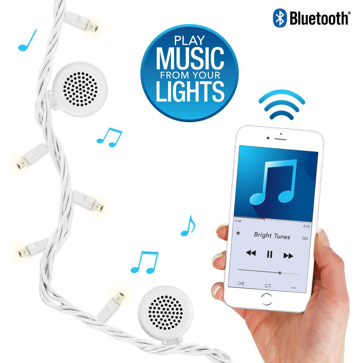Bright Tunes Indoor Outdoor White LED String Lights with Bluetooth Speakers, White Cord by Innovative Technology