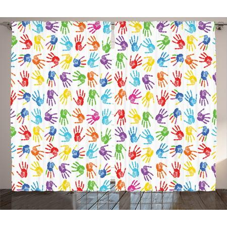 Colorful Decor Curtains 2 Panels Set Human Handprint Kids Watercolor Paint Effect Open Palms Collage Art Work Print Window Drapes For Living Room
