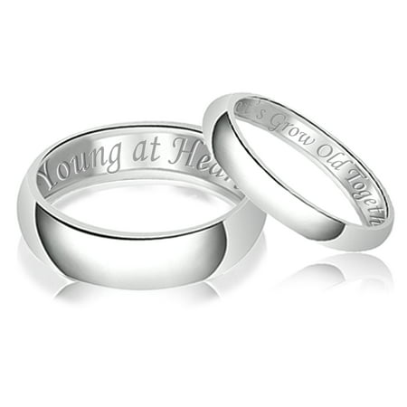 His & Her Engraved Let's Grow Old Together Young at Heart Classic Sterling Silver Plain Wedding Band Ring ()