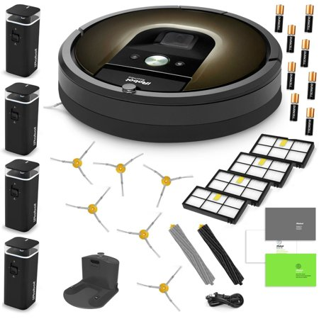 Irobot Roomba 980 Robotic Vacuum Cleaner Estate Bundle Includes 4 Dual Mode Virtual Wall Barriers  With 8 Batteries