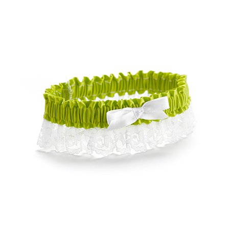 Lime Ribbon and Lace Bridal Garter