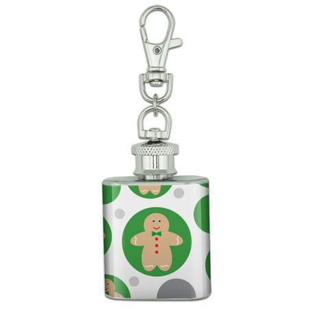 Cute Gingerbread Man Cookie Christmas Stainless Steel 1oz Mini Flask Key