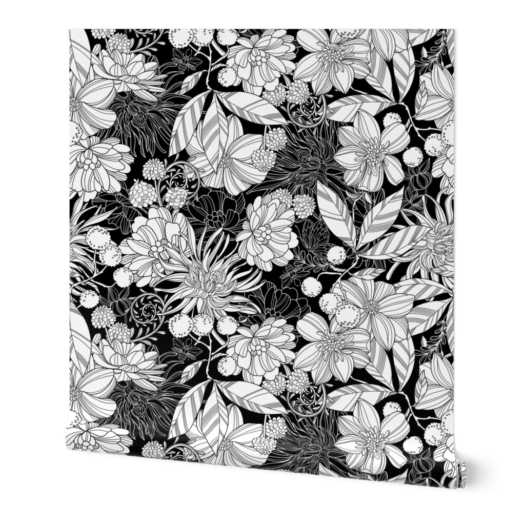 Wallpaper Roll Floral Botanical Black White Flower Coloring Book