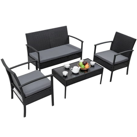 Gymax Patio Garden 4PC Rattan Wicker Furniture Set with Gray Cushions ()
