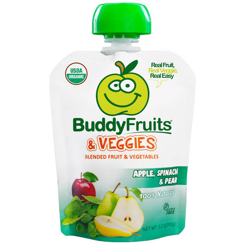 Buddy Fruits & Veggies Apple, Spinach & Pear Blended Fruit & Vegetables, 3.2 oz