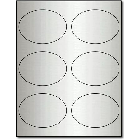 "Silver Foil 3 7/8"" x 2 3/4"" Oval Labels for Laser Printers - 10 Sheets / 60 Labels"
