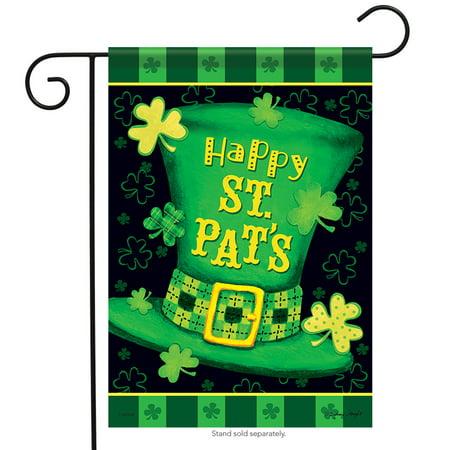 Happy St. Pat's Hat Garden Flag Clover Irish Patrick Shamrock 12.5