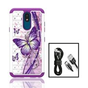 Phone Case for Straight Talk LG Journey Smartphone / LG Journey /LG Arena 2 / LG Escape Plus, Crystal Bling Shock-Resistant Cover Case + Charging Cable (White Purple Butterfly)