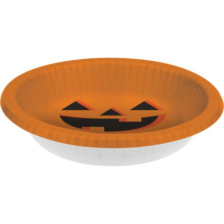 Club Pack of 96 Halloween Jack-o-Lantern Paper Party Banquet Dinner Bowls 20 oz