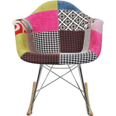 2xhome Multi Color Modern Upholstered Armchair Fabric Chair Patchwork Pattern Rocker