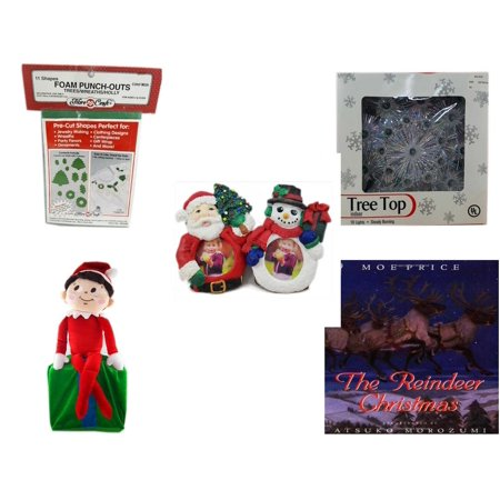 Christmas Fun Gift Bundle [5 Piece] - 11 Shapes Foam Punch-outs Trees/Wreaths/ Holly - 19-Light Snowflake Tree Topper - Santa & Snowman Photo Holders 1.5