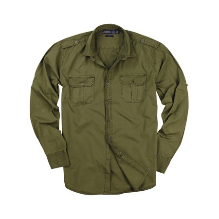 Men's Garment Dyed 100% Cotton Military Style Long Sleeve Shirt (Olive, - Military Olive Apparel