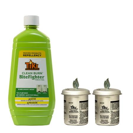 TIKI® Brand Clean Burn™ BiteFighter® Kit (1) 32 Ounce Bottle of Fuel, 2 Roundwick Replacement Wicks (Tiki Hut Kits)