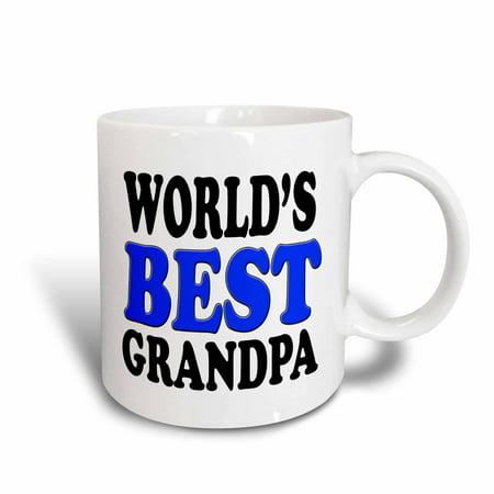 (3dRose World?s Best Grandpa, Blue,, Ceramic Mug, 11-ounce)