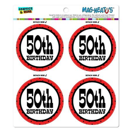 50th Fiftieth Birthday Red Black Polka Dots MAG-NEATO'S(TM) Car/Refrigerator Magnet Set