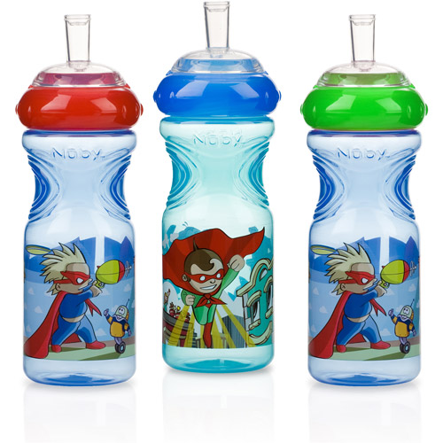 Nuby 3pk 10oz Printed Sports Sipper, Sup
