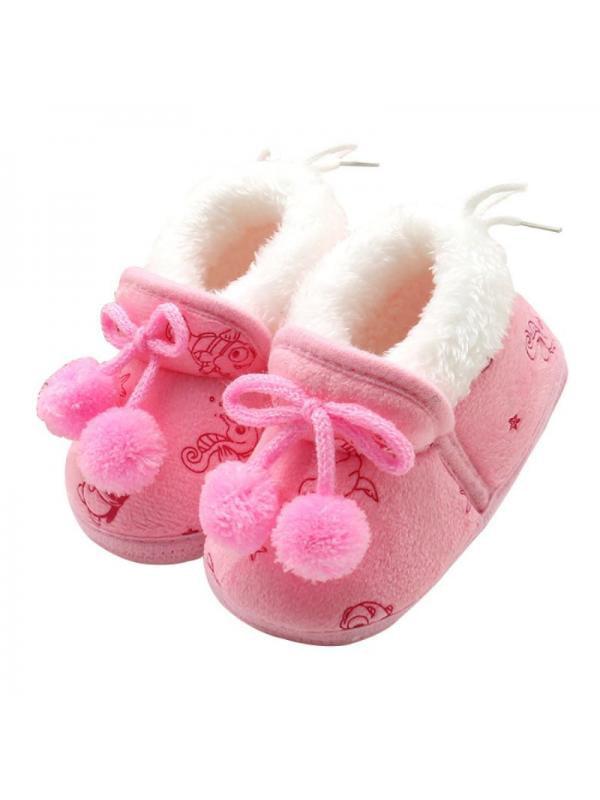 Tommyfit 0-18 Months Newborn Toddler Baby Bowknot Soft Sole Crib Shoes Winter Warm Faux Fur Prewalker