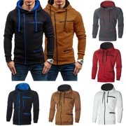 Men Winter Hoodies Zip PocketCoat Hooded Sweatshirt Outwear Sweater Warm Jacket