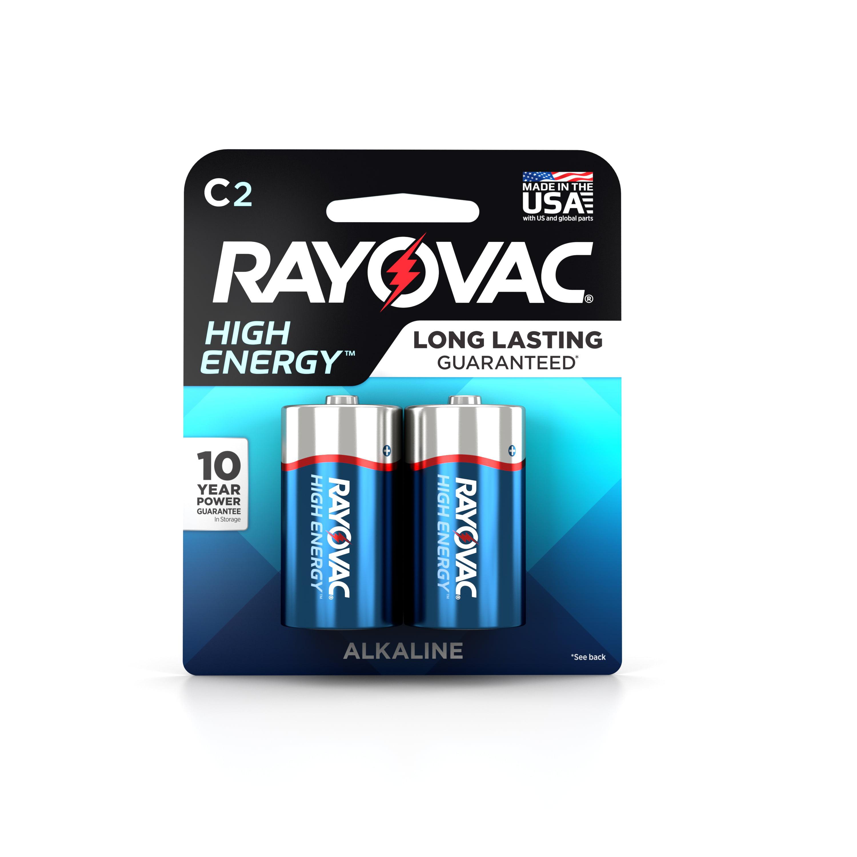 RAYOVAC 8142D 814-2D ALKALINE C BATTERIES CARD 2 PACK