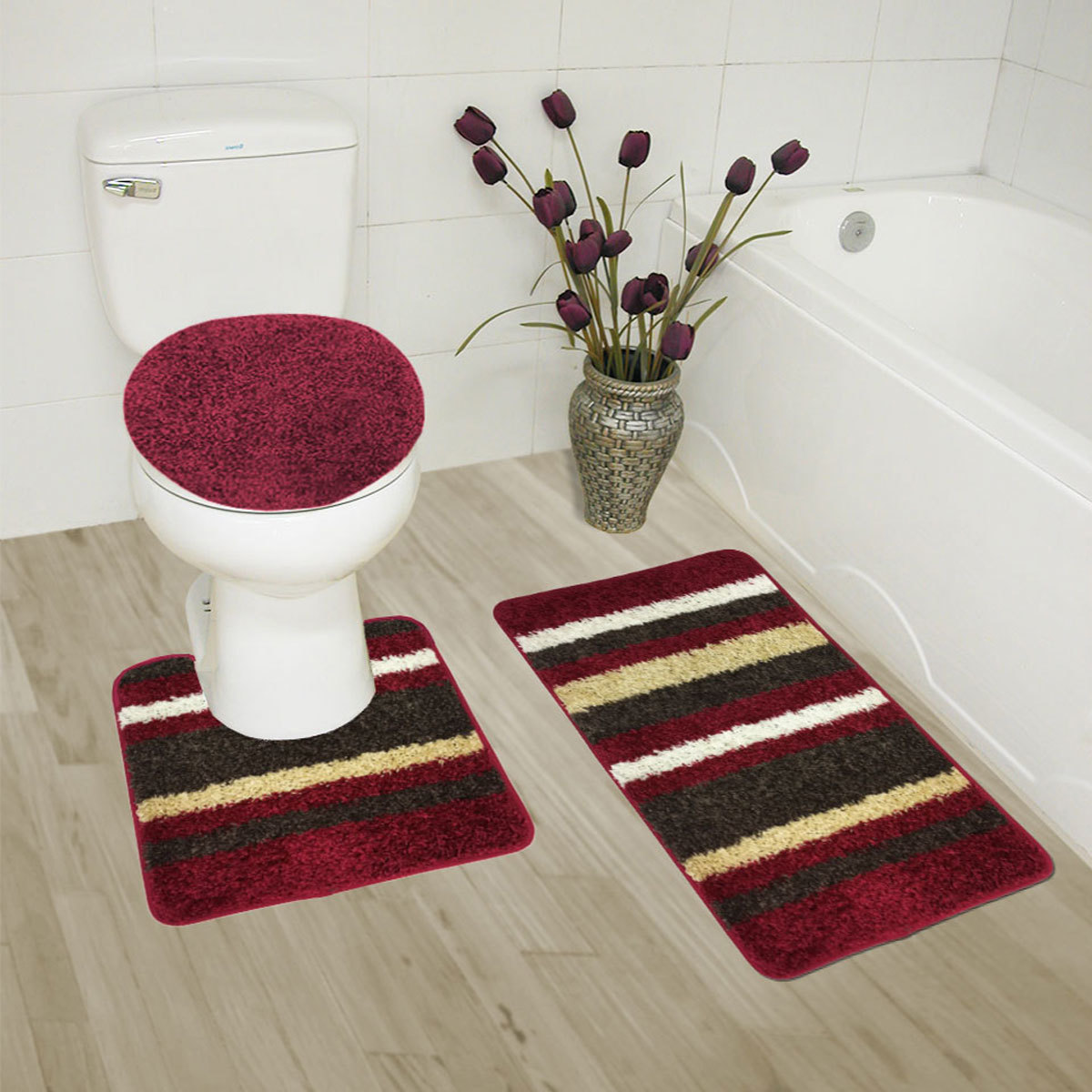 Click here to buy Abby 3 Piece Bathroom Rug Set, Bath Rug, Contour Rug, Lid Cover (Navy) by Kashi Enterprises.