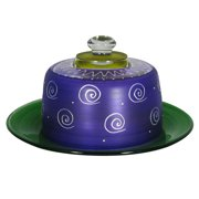 """Frosted Purple and White Hand Painted Glass Cheese Dome with Plate 6"""""""