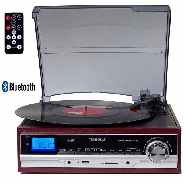 Bluetooth 3-Speed Record Player Turntable CD AM//FM Cassette USB//SD Vinyl to MP3
