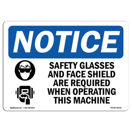 OSHA Notice Sign - Safety Glasses And Face Shield Sign With Symbol | Choose from: Aluminum, Rigid Plastic or Vinyl Label Decal | Protect Your Business, Construction Site | Made (Flattering Glasses For Your Face)