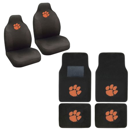 Clemson Tigers 4 Carpet Floor Mats And 2 Front Seat -