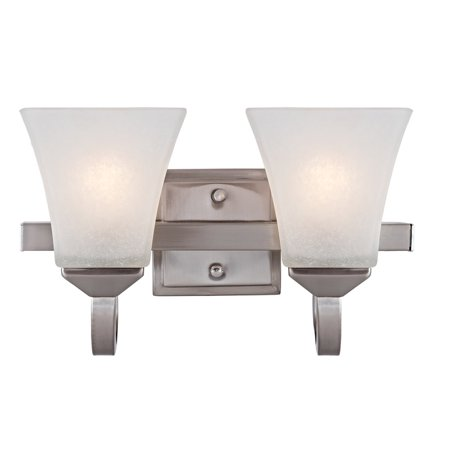 Design House 587774 Torino Traditional 2-Light Indoor Dimmable Up/Down Mount Bathroom Vanity Light with Frosted Glass for Hallway Foyer, Satin Nickel