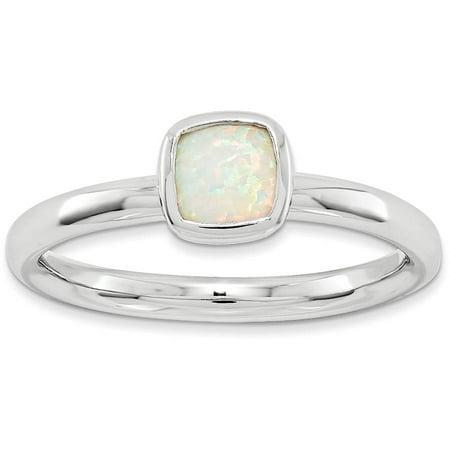 Double Cushion-Cut Created Opal Sterling Silver Ring Cushion Cut Opal Ring