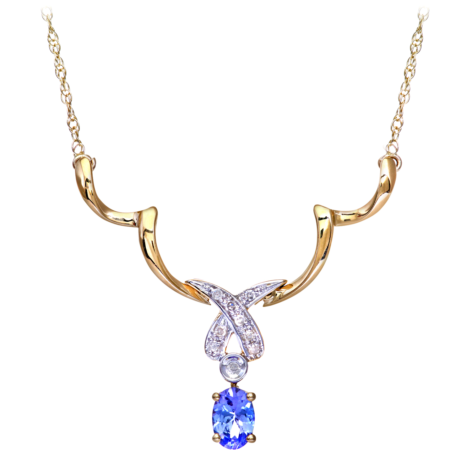 9ct Yellow Gold Tanzanite and Diamond Kiss Necklace by Revoni