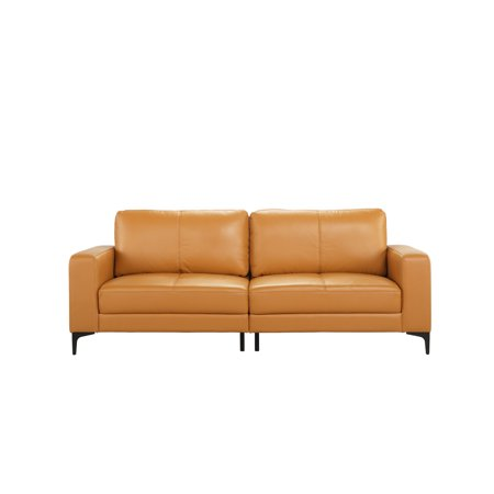 Plush Leather Mid Century Modern Living Room Sofa, Light Brown