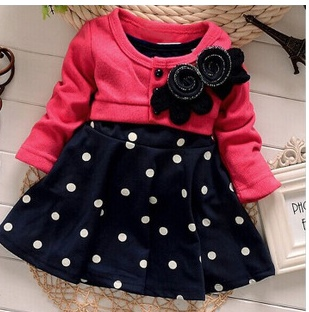 Baby Girl Toddler Party Long Sleeve Polka Dot Princess Tutu Bow Dress Skirt