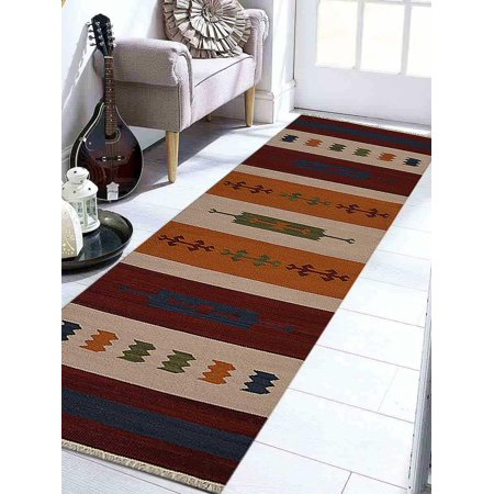 Rugsotic Carpets Hand Woven Flat Weave Kilim Wool 2'6''x6' Runner Rug Contemporary Multicolor D00112