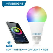 Smart Light Bulb, Viribright E26 RGBW WiFi Dimmable Multicolor LED Lights, 2700K to 5000K + RGBW, A19 60W Equivalent (9.5W Actual), No Hub Required, Easy Set up