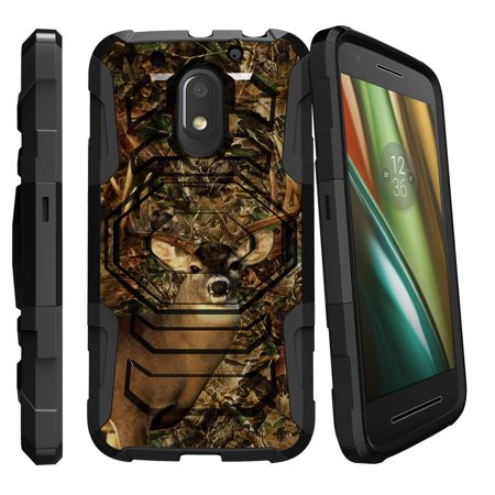 Motorola Moto E3 | Moto E 3rd Generation [Armor Reloaded] Extreme Rugged Protector with Kicsktand and Bonus Holster - Deer Hunting (3rd Generation Accessories)