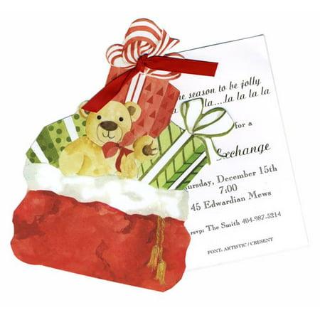 Stevie Streck Designs HW734WBOX Sac de Santa avec l'-tiquette de ruban rouge avec paillettes d'or - image 1 de 1