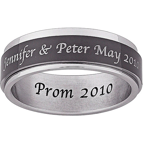 Personalized Men's Inside and Top-Engraved Spinner Ring in Black and White Stainless Steel