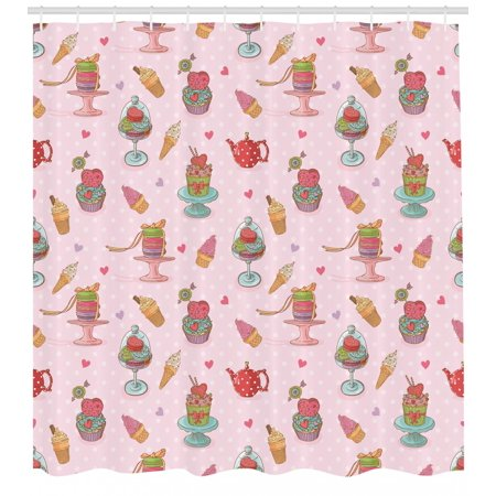 Ice Cream Shower Curtain, Retro Style Cupcakes Teapots Candies Cookies on Polka Dots Vintage Kitchen Print, Fabric Bathroom Set with Hooks, Multicolor, by (Ice Cream Shower Curtain Brick Red Pillowfort)