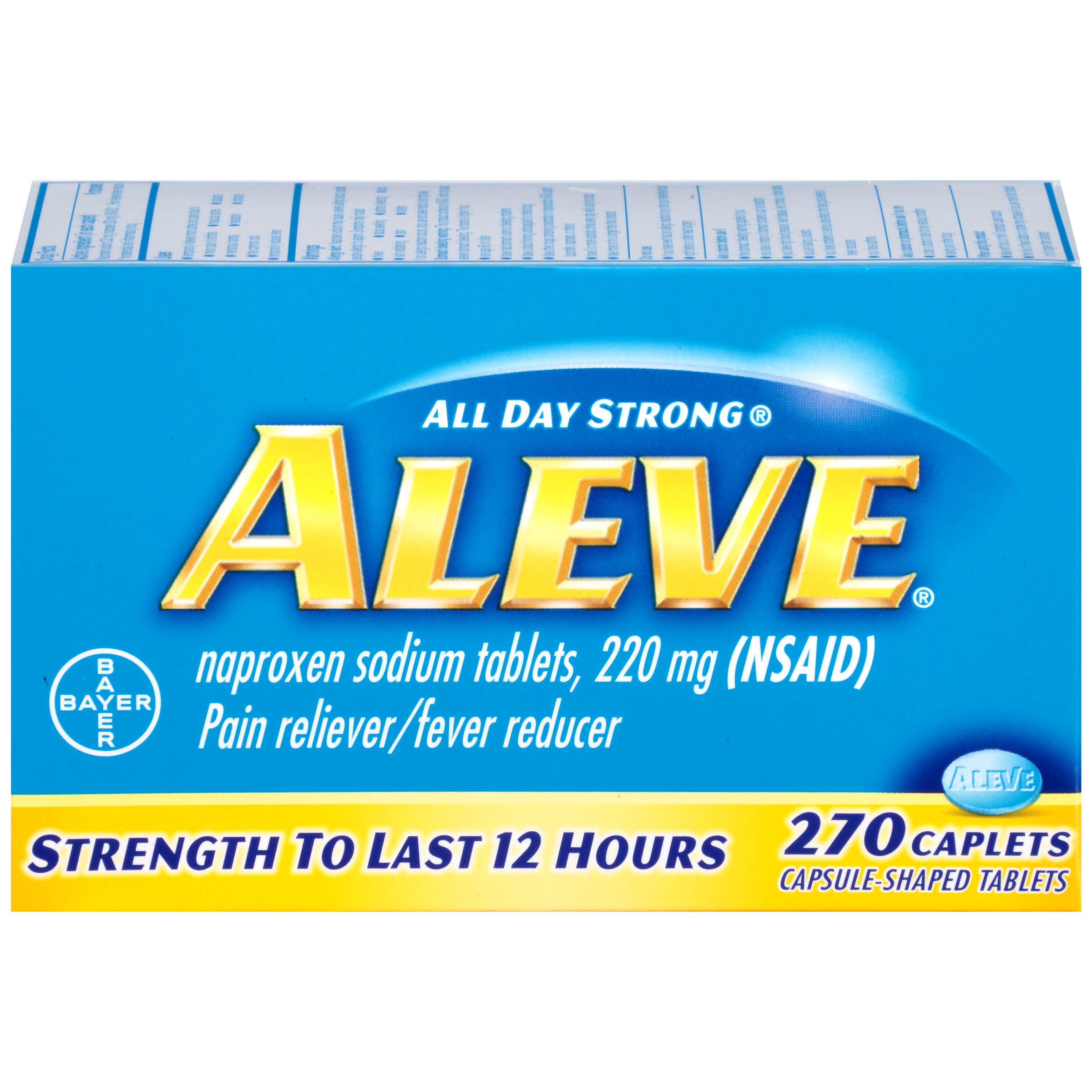 Aleve Pain Reliever/Fever Reducer Naproxen Sodium Caplets, 220 mg, 270 Ct