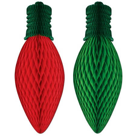 Pack of 12 Red and Green Christmas Light Bulb Shaped Honeycomb Paper Decorations 24""